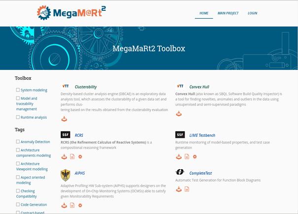 Tools part of the MegaM@Rt catalog